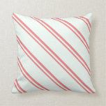[ Thumbnail: Light Coral and Mint Cream Colored Stripes Pillow ]