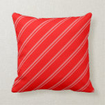 [ Thumbnail: Light Coral and Red Colored Stripes Throw Pillow ]