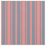[ Thumbnail: Light Coral and Slate Gray Colored Lines Fabric ]