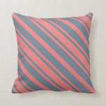 [ Thumbnail: Light Coral and Slate Gray Colored Lines Pillow ]