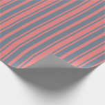 [ Thumbnail: Light Coral and Slate Gray Colored Lines Wrapping Paper ]