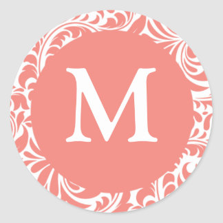 Light Coral And White Letter M Wedding Stickers