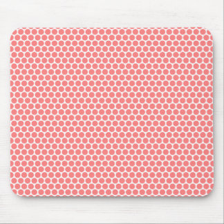 Light coral and white polka dots dot pattern mouse pad