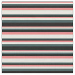 [ Thumbnail: Light Coral, Beige, Dark Slate Gray & Black Lines Fabric ]