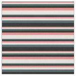 [ Thumbnail: Light Coral, Beige, Dark Slate Gray & Black Lines Fabric ]