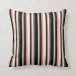[ Thumbnail: Light Coral, Beige, Dark Slate Gray & Black Lines Throw Pillow ]
