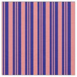 [ Thumbnail: Light Coral & Blue Colored Lined Pattern Fabric ]