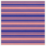 [ Thumbnail: Light Coral & Blue Lined Pattern Fabric ]