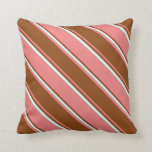 [ Thumbnail: Light Coral, Brown, and Light Cyan Pattern Pillow ]