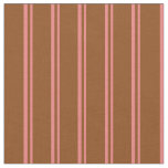 [ Thumbnail: Light Coral & Brown Lined/Striped Pattern Fabric ]