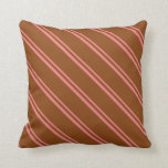 [ Thumbnail: Light Coral & Brown Lined/Striped Pattern Pillow ]