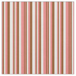 [ Thumbnail: Light Coral, Brown & Mint Cream Stripes Pattern Fabric ]