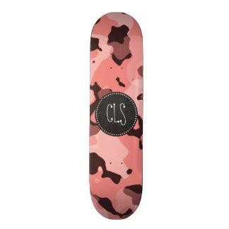 Light Coral Camo; Retro Chalkboard Skateboard Deck