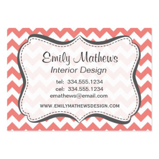 Light Coral Chevron Stripes Business Card Template