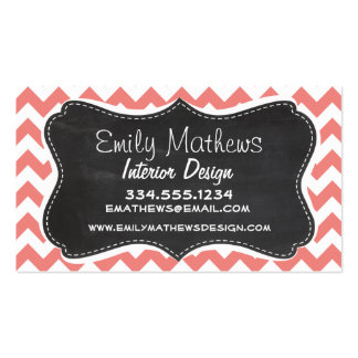 Light Coral Chevron Stripes; Chalkboard look Business Card