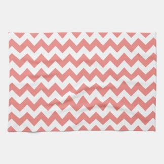 Light Coral Chevron Stripes Kitchen Towel