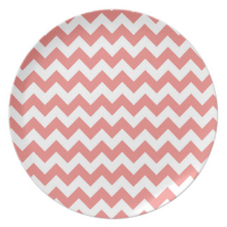 Light Coral Chevron Stripes Melamine Plate