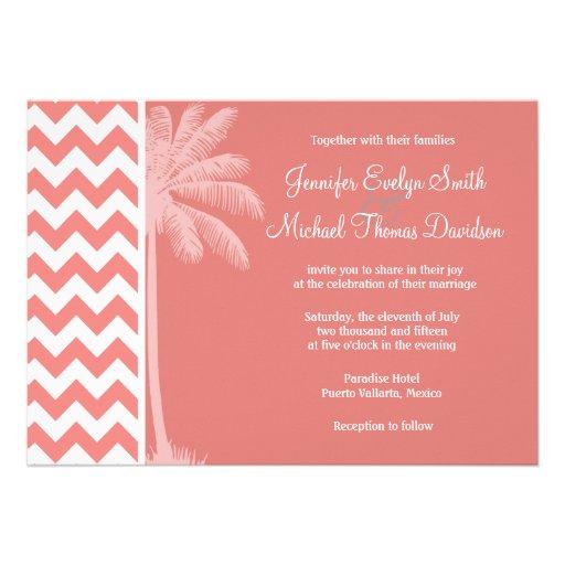Light Coral Chevron Stripes; Palm Tree Custom Invite
