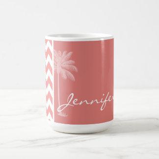 Light Coral Chevron Stripes; Palm Tree Coffee Mugs