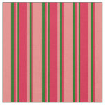 [ Thumbnail: Light Coral, Crimson & Dark Green Lined Pattern Fabric ]