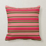 [ Thumbnail: Light Coral, Crimson & Dark Green Lined Pattern Throw Pillow ]