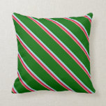 [ Thumbnail: Light Coral, Crimson, Powder Blue, and Dark Green Throw Pillow ]