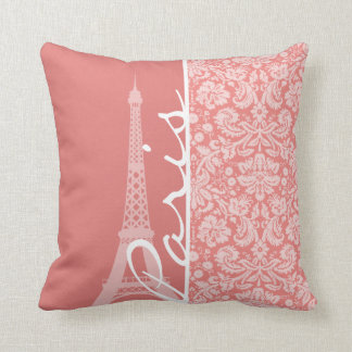 Light Coral Damask; Paris; Eiffel Tower Throw Pillow