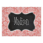 Light Coral Damask; Vintage Chalkboard look Print