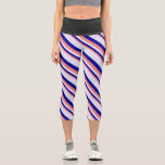 [ Thumbnail: Light Coral, Dark Blue & Lavender Colored Stripes Leggings ]