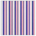[ Thumbnail: Light Coral, Dark Blue & Lavender Colored Stripes Fabric ]