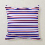 [ Thumbnail: Light Coral, Dark Blue & Lavender Colored Stripes Throw Pillow ]
