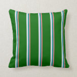 [ Thumbnail: Light Coral, Dark Cyan, Lavender & Dark Green Throw Pillow ]