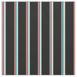 [ Thumbnail: Light Coral, Dark Cyan, Light Cyan & Black Lines Fabric ]