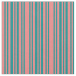 [ Thumbnail: Light Coral & Dark Cyan Striped/Lined Pattern Fabric ]