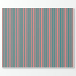 [ Thumbnail: Light Coral & Dark Cyan Striped/Lined Pattern Wrapping Paper ]