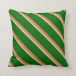 [ Thumbnail: Light Coral, Dark Goldenrod, Pink & Dark Green Throw Pillow ]