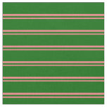 [ Thumbnail: Light Coral & Dark Green Colored Lines Fabric ]