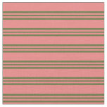 [ Thumbnail: Light Coral & Dark Olive Green Lines Fabric ]