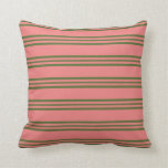 [ Thumbnail: Light Coral & Dark Olive Green Lines Throw Pillow ]