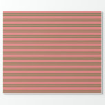 [ Thumbnail: Light Coral & Dark Olive Green Lines Wrapping Paper ]
