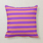 [ Thumbnail: Light Coral & Dark Orchid Colored Stripes Pillow ]