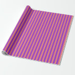 [ Thumbnail: Light Coral & Dark Orchid Colored Stripes Wrapping Paper ]