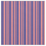 [ Thumbnail: Light Coral & Dark Slate Blue Stripes Fabric ]
