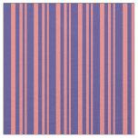 [ Thumbnail: Light Coral & Dark Slate Blue Stripes Fabric ]