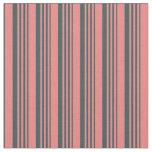 [ Thumbnail: Light Coral & Dark Slate Gray Colored Stripes Fabric ]