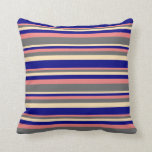 [ Thumbnail: Light Coral, Dim Grey, Beige, and Blue Pattern Throw Pillow ]
