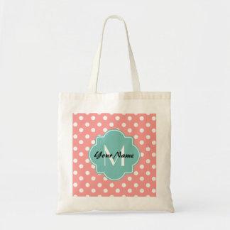 Light Coral Dots Mint Quatrefoil Monogram Tote Bag
