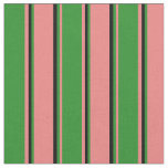 [ Thumbnail: Light Coral, Forest Green, and Black Lines Fabric ]