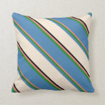 [ Thumbnail: Light Coral, Forest Green, Blue, Beige & Black Throw Pillow ]