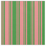 [ Thumbnail: Light Coral & Forest Green Stripes Pattern Fabric ]